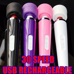 Wholesale Usb Slim - 4 Colors 30 Speed Magic Massager USB Recharheable Personal Wand Full Body Hitachi Motor Massager