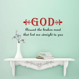 Wholesale Break Quotes - Christian Quotes God Blessed the Broken Road Wall Sticker Decorative Vinyl Home Decor