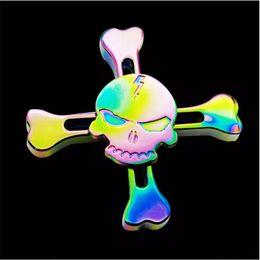 Wholesale Skeleton Tips - Hot Sale Rainbow Skeleton Hand Spinner Skull Head Aluminium Alloy Metal Finger Tips EDC Rotating Toy Metal Fidget Spinner Decompression Toys