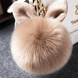 Wholesale Rabbit Key - 2018 Multicolor Faux Fox Fur Pompom Keychain Fluffy Rabbit Ear Ball Key Chain Keyring Bag Charms Pendant Bunny Accessories