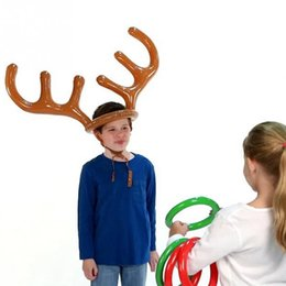 Wholesale Metal Christmas Tree Ornaments - Wholesale-2016 Christmas Toy Children Kids Inflatable Santa Funny Reindeer Antler Hat Ring Toss Christmas Holiday Party Game Supplies Toy