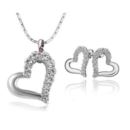 Wholesale New Fashion Jewellery - 2015 New Fashion Lovely Cute Double Heart Necklace and Earring Crystal Jewelry Sets For Women Girls Jewellery