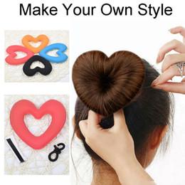 Wholesale Hairbands Magic - 1PC Hair Donut Bun Heart Maker Magic Foam Sponge Styling Tool Princess Hairstyle Hair Bands Hair Accessories