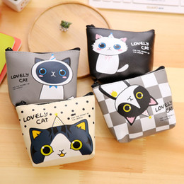 Wholesale Christmas Stationery Free Shipping - 2017 new style fashion woman bags Korean stationery creative cute cartoon small purse, meow meow, PU material zero wallet free shipping