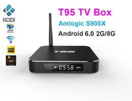 Wholesale Wifi Display Tv Box - 10pcs T95 Android TV Box Amlogic S905X Quad Core Ram 2G Rom 8G Kdi16.0 Dual WIFI 2.4GHz 5.0GHz Bluetooth HDMI Metal Case LED Display
