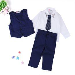 Wholesale Dress Children Boys - Boys England style Gentlemen 4pc suits Necktie Waistcoat Turndown collar Shirt Trousers Children Gifts Dress Outfits for 2-7T