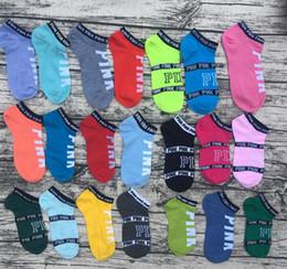 Wholesale Sport Sneakers Women Wholesale - love vs pink Low sock slipper ped socks Stripe Crew Sock girls women Footsocks sneakers pink VS sock slippers for sport sneaker
