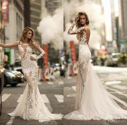 Abra para trás vê através do vestido de casamento on-line-2020 Lindo Sexy Abrir Voltar Trompete Vestidos de Casamento Sheer Mangas Compridas Lace Completa Appliqued Vestido De Noiva Ver através de Sereia Vestidos de Noiva