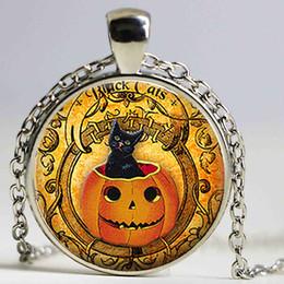 Wholesale Pumpkin Painting - Black Cat Pumpkin necklace Halloween pendant Cabochon Glass Gift Oil Painting Art Jewelry Samhain