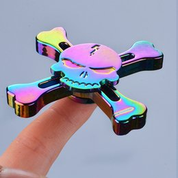 Wholesale fingertips music - Rainbow Skull Head Spinner Fidget Toy Zinc Alloy Fingertips EDC Rotating Toy High Speed 120 Seconds Stress Reducer and Killing time