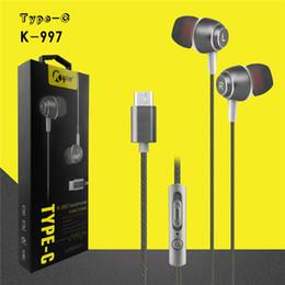 Wholesale C Perfume - Type-C Plug In-ear Earphone Wire Control 1.2M Length Volume Control Mic Support Earphone With Perfume for Type-C Devices 20pcs