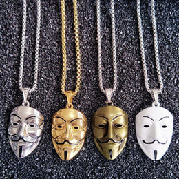 Wholesale Mask Hip Hop - Europe and the United States around the film V Killers mask necklace tide male hip - hop accessories wholesale gold chains for men