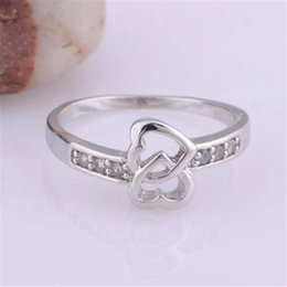 Wholesale Love Double Finger Ring - Sterling Silver Rings Hearts DHL Engagement Fingers Rings Fashion Zircon Double Heart Charm Gift Austrian CZ Crystal Beautiful Love Jewelry