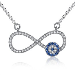 Wholesale Sterling Silver Evil Eye Charms - BELAWANG High Quality Infinity Charm 925 Sterling Silver Women Necklace Fashion Blue Evil Eye Cubic Zirconia Silver Link Chain Necklace
