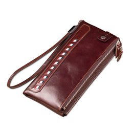 Wholesale Phone Clutch Zip Purse - wallets for men long wallet purse genuine leather zip around clutch bag for men brand design