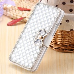 Wholesale Iphone4 Flip Covers - Case For iPhone4 Luxury Rhinestone Diamond PU Leather Cover For Apple iPhone 4s 4G 5S 6S 7 Phone Cases Stand Flip Wallet Bag+Card Slot