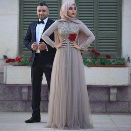 Wholesale Flower Hijab Green - Elegant Long Sleeves Silver Muslim Evening Dresses Scoop Neck Crystal Beaded Floor Length Hijab Prom Dresses Saudi Arabic Evening Gowns