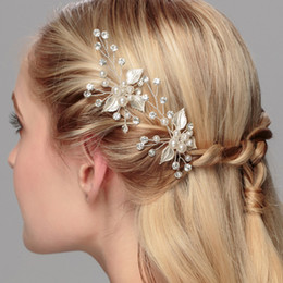 Wholesale Elegant Wedding Bridal Jewelry Headpiece - Stunning Rhinestine Flower Bridal Hair Pins Gold Silver Elegant Wedding Accessories Handmade Pearl Crystal Women Jewelry Headpiece