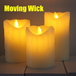 Wholesale Decorative Wax Candles - RC LED Candle, LED Electric Decorative Paraffin Wax Candles with Tears Design Moving Wick Flame for Halloween Decoration Decor