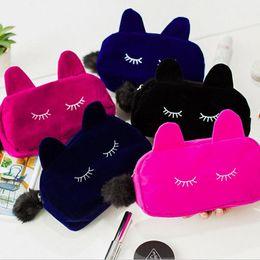 Wholesale Animal Print Make Up Case - Portable Cartoon Cat Coin Storage Makeup Cosmetic Make Up Organizer Bag Box Case Women Men Casual Travel Bag Handbag JF-856