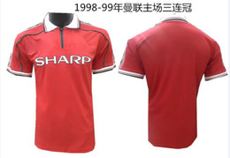 Wholesale United Number - Wholesale 1998 1999 man united World Cup Retro soccer jerseys home red Top quality 3AAA customzied name number Man united football shirt