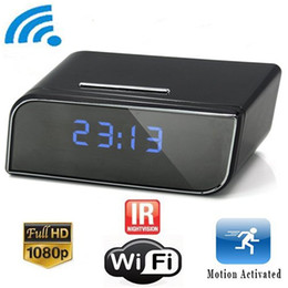 Wholesale Wifi Night Vision Pinhole Camera - 32GB HD 1080P Wifi Hidden Camera Alarm Clock With Night Vision And Motion Delection Home Surveillance Cameras