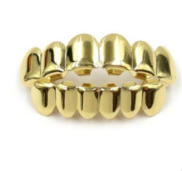 Wholesale Night Sets - 2017 night party toy Hip Hop teeth Gold Plated Custom Mouth Grillz Single Top & 6 teeth Bottom set gold grills