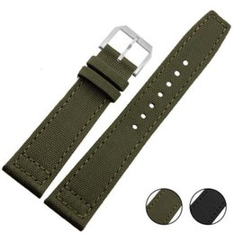 Wholesale Handmade Tags - Handmade For IW Pilot 20MM 21MM 24MM Men's Women's Genuine Cowhide Leather Bottom Canvas Side Watch Strap Band +Tool