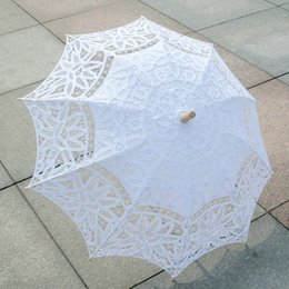 Wholesale Victorian Bridal Accessories - New Bridal Accessories Wedding Lace Parasol White Lace Umbrella Victorian Lady Costume Accessory Bridal Party Decoration Photo Props