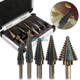 Wholesale Hss Steel Sizes - DHL 10Set 5 Pieces HSS Cobalt Multiple Hole 50 Sizes Step Drill Bit Set + Aluminum Case NEW
