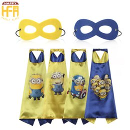 Wholesale Minions Costumes - 70Cm Halloween Costumes Cape Despitcble Me Cartoon Capes And Masks Minions Kids Costumes For Halloween Christmas Birthday Party Decoration