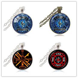 Wholesale Firefighter Jewelry Pendants - Rescue Firefighter Necklace Fire Fighter Pendant Fireman Jewelry Fire Department Pendant Necklace Glass Cabochon Fashion Jewellery