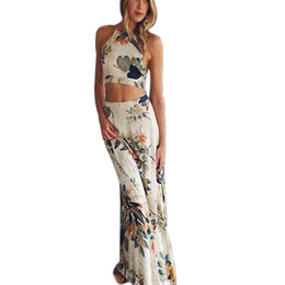 Wholesale Cross Club - Wholesale- Floral Print 2 Piece Dress Women Summer Long Maxi Sexy Dress Cross Body Backless Boho Halterneck Party Beach Dresses Trendy16