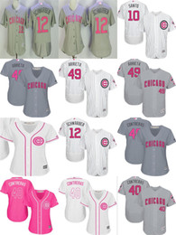 Wholesale Day Mother - Mens Womens Kids Chicago Cubs Jake Arrieta Kyle Schwarber Ron Santo Willson Contreras Mother Day Flex Cool Baseball Jerseys grey white pink