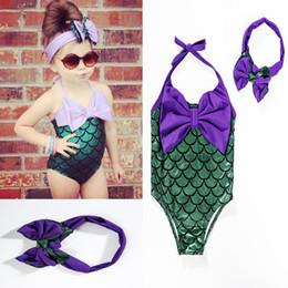 Wholesale Wholesale Youth Bow - Swimsuit Girls Mermaid Swimwear Baby Swimwear with Headband Bow Rash Guard Youth Takini One Piece Kids Clothing Children Clothes New
