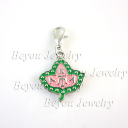 Wholesale Dangles Charms - Wholesale-Free shipping wholse sell Greek Sorority AKA Ivy dangle Charm aka enamel charm 20pcs 1 lot