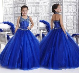 Wholesale Ball Gown Halter Beaded Bodice - Halter Organza Beaded Bodice Little Girl's Pageant Dresses A Line Junior Floor Length Princess Formal Glitz Flower Girl's Gowns HY1149