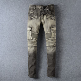 Wholesale Gray Pants Fashion - New Arrival European American Style Fashion Brand Jeans The Old Gray Green Washing Stitching Straight Denim Pants Trade Metrosexual Jeans