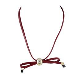 Wholesale Bowtie Necklaces - Tattoo Pu Leather Bowtie Shape Chain Choker Necklaces