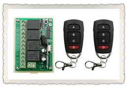Wholesale 4ch Remote Control Transmitter - Wholesale- DC12V 4CH RF Wireless Remote Control System teleswitch 2* transmitter +1* receiver universal gate remote control  radio receiver
