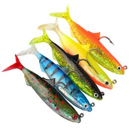 Wholesale Single Hook Lures - 5-color 10.5cm 21g Package Lead Fish Silicone Lures Fishing Lure Soft Baits Fishing Hooks Single Hook Artificial Pesca Tackle Accessories
