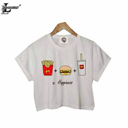 """Wholesale Wholesale Green Lei - Wholesale- Lei-SAGLY """"French Fries+Hamburger+Cola=Happiness"""" Printed White Crop Tops Fitness Women Sexy T shirts Kawaii T-shirt F1010"""