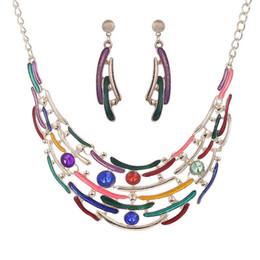 Wholesale Drop Gem Necklace - Fashion Moon Big Gem Statement Necklace Earring Women Drip Oil Water Drop Bohe Punk Vintage Crystal Collar Choker Jewelry Sets Wholesale