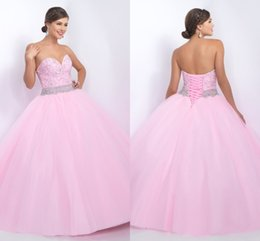 Wholesale Country Girl Sexy - Elegant Quinceanera Dress Long Crystals Sparked Shiny Prom Dresses Pageant Gown Lace Beaded Collar Pink Gown Sweet 16 Girls Modest Country