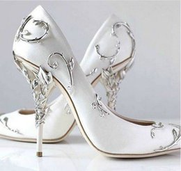 Wholesale Sexy Prom Shoes - Latest New Metal Flowers Sexy High Heel Wedding Bride Dress Shoes Silk Bridal ShoesSpring Summer Prom Party Shoes Drop Shipping