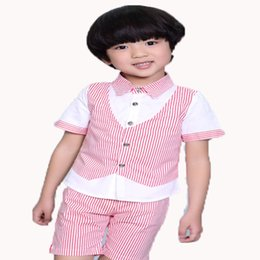 Wholesale Leisure Suits Candy - summer Child Suits 100% quality Leisure Boys clothing sets Candy Color Baby suit 2-10Years Old Kids Short Sleeve Sets