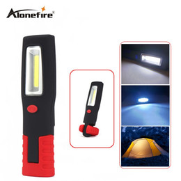 Wholesale led lamp torch magnetic - AloneFire C028 COB Work Light Torch Linternas Magnetic + Swivel Hook Camping Outdoor Lamp COB LED Stand Flashlight Outdoor Work Light