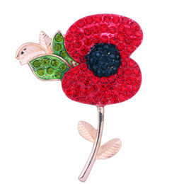 Wholesale Diamante Flower Pins - New design Luxury UK Remebrance Day Gift Gold Tone Red Diamante Crystal Poppy Pin Brooch Pretty Poppy Flower Brooch DHL free shipping