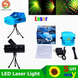 Wholesale Green Red Laser Dj Lighting - Portable Laser Stage Lights (Red + Green Color) Multi All Sky Star Lighting Mini DJ Laser For Christmas Party Home Wedding Club Projector