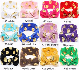 Wholesale Brown Headband Elastic - Lovely Bunny Ear Headband Scarf brozing Hair Head Band Cotton Bow elastic Knot Headband rabbit baby hair accessories